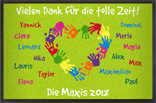 Kindergartenmatten personalisieren mit Namen