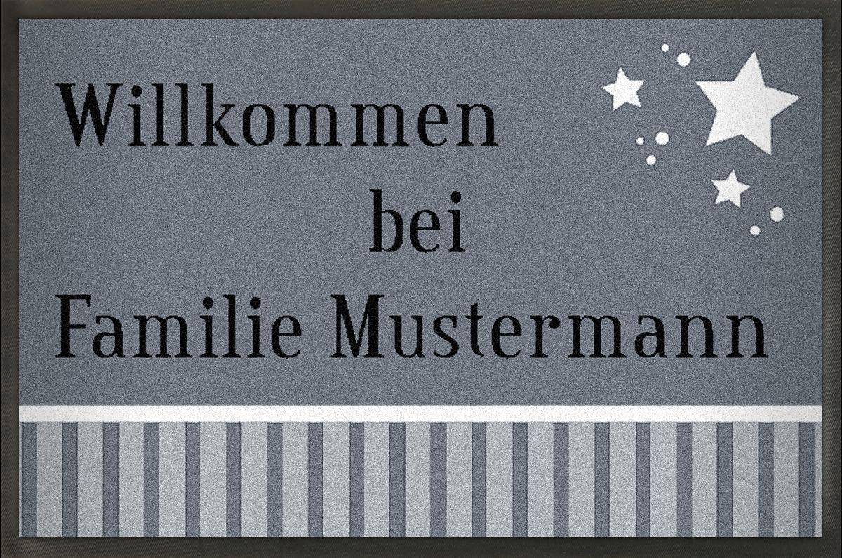 MyMat.de Fußmatte mit Sternen grau