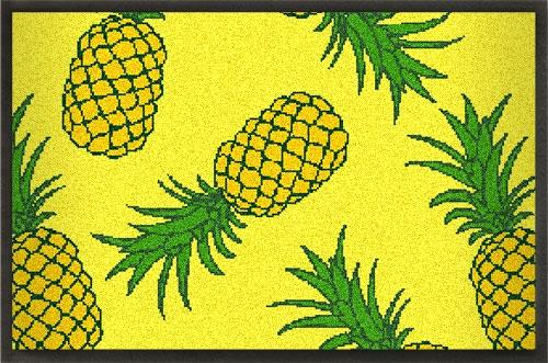Fußmatten Sommermatte mit Ananas Design gelb