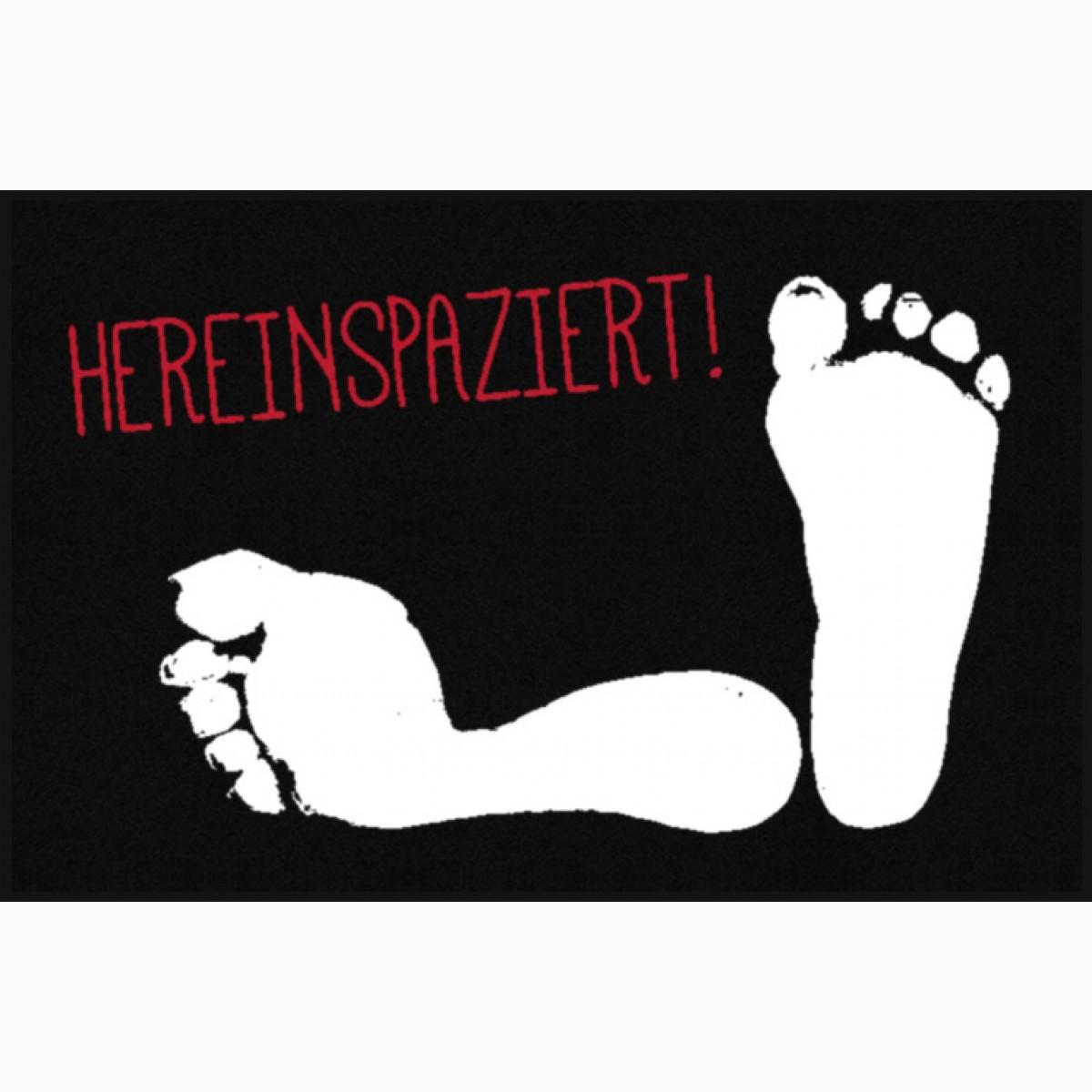 Fußmatte Hereinspaziert mit Fußabdruck