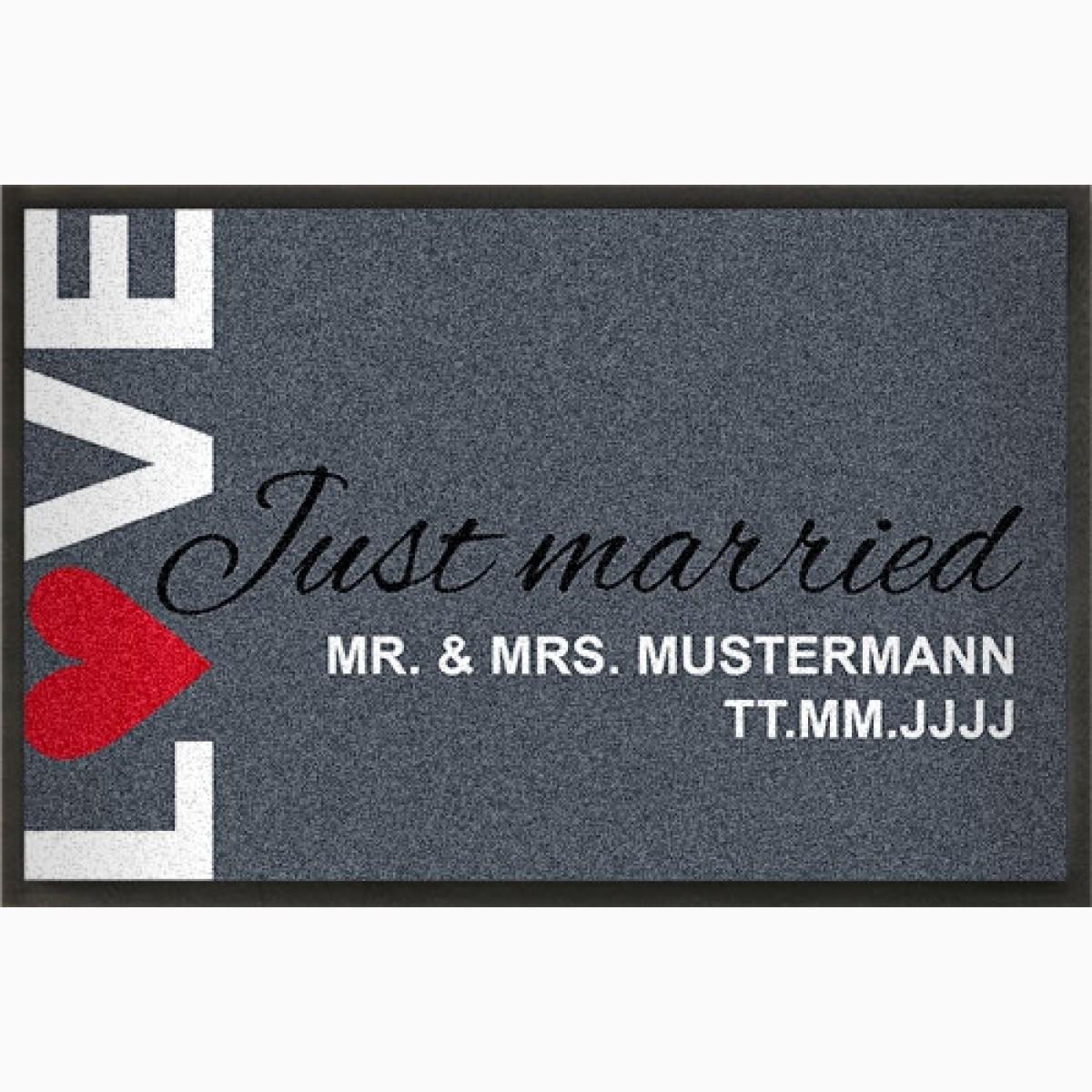Fußmatte LOVE mit Text zur Hochzeit