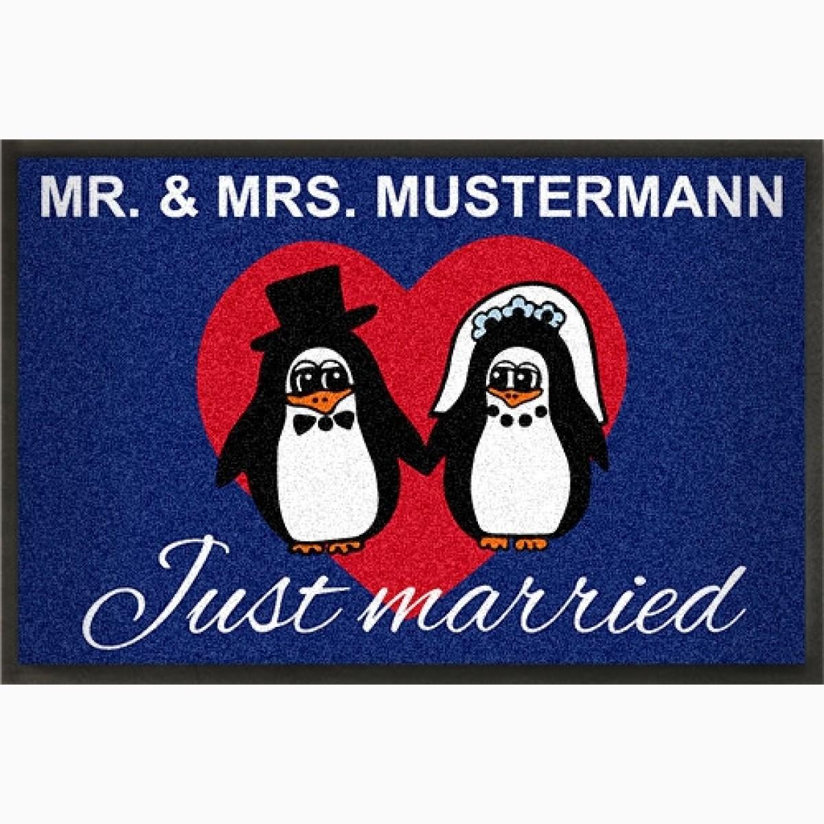 Fußmatte zur Hochzeit Pinguin Braut-paar gestaltbar