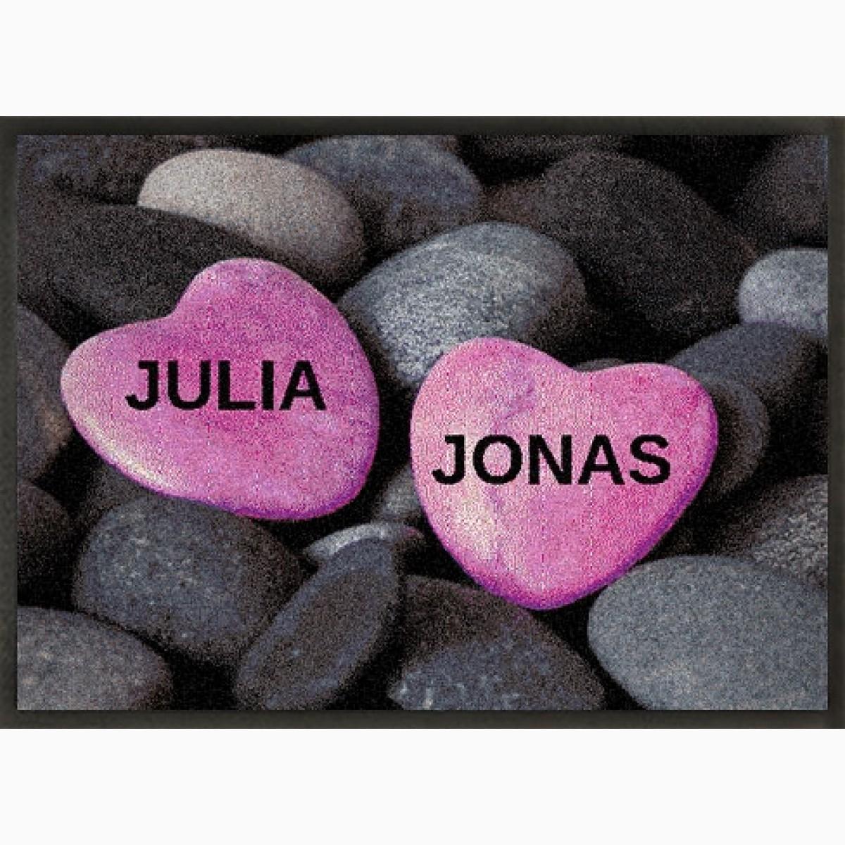 Fotomatte als Geschenk zur Hochzeit mit Herz auf Steinen