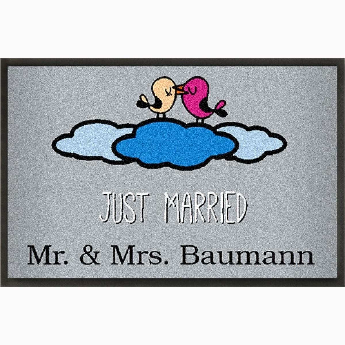 Fußmatte Just Married und eigenem Wunschtext