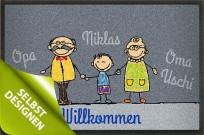 Fußmatte Großeltern mit Enkel selbst bedrucken