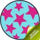 Runde Kinder Fußmatte pink Stars zum Selbstgestalten