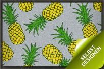 Sommermatte mit Ananas Design grau