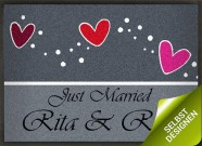 Fußmatte rote Herzen als Hochzeitsgeschenk selbstgestalten