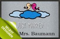 Fußmatte Hochzeit, Just Married Fußmatte mit Wunschtext bedrucken lassen